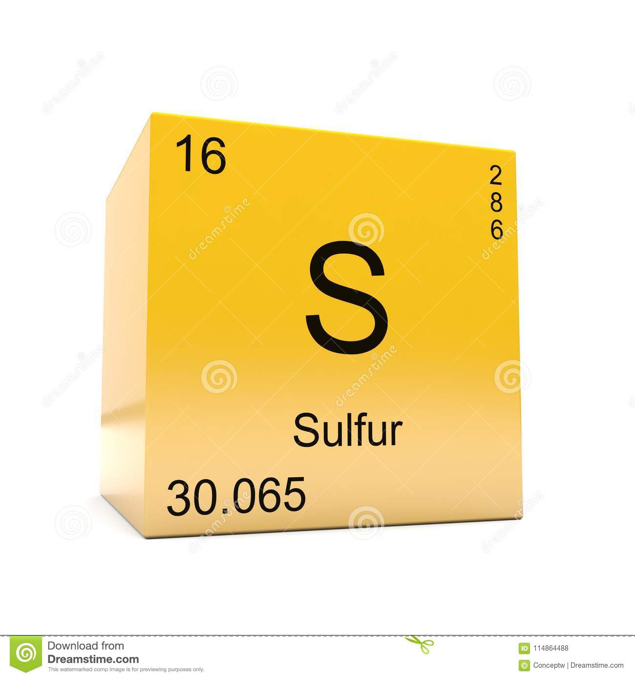 Sulfur Chemical Element Symbol From Periodic Table Stock