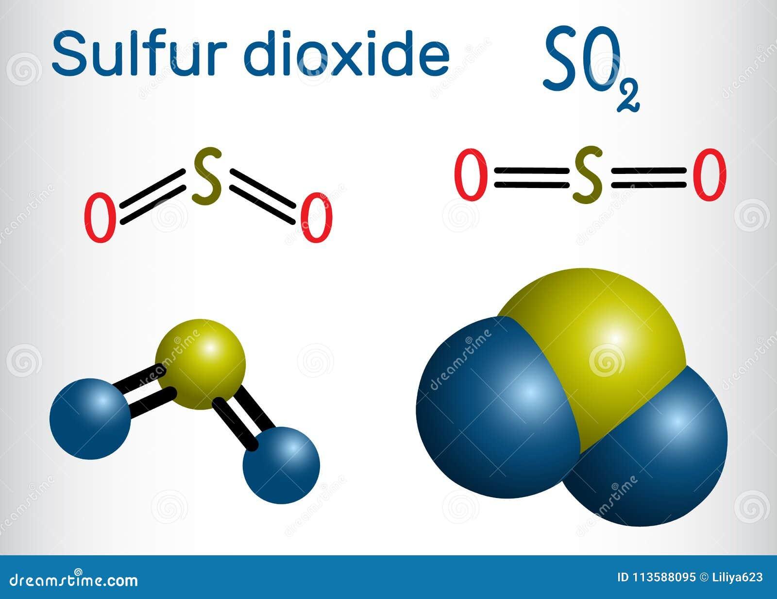 Sulfur Dioxide Sulphur Dioxide So2 Molecule Structural Chemi Stock