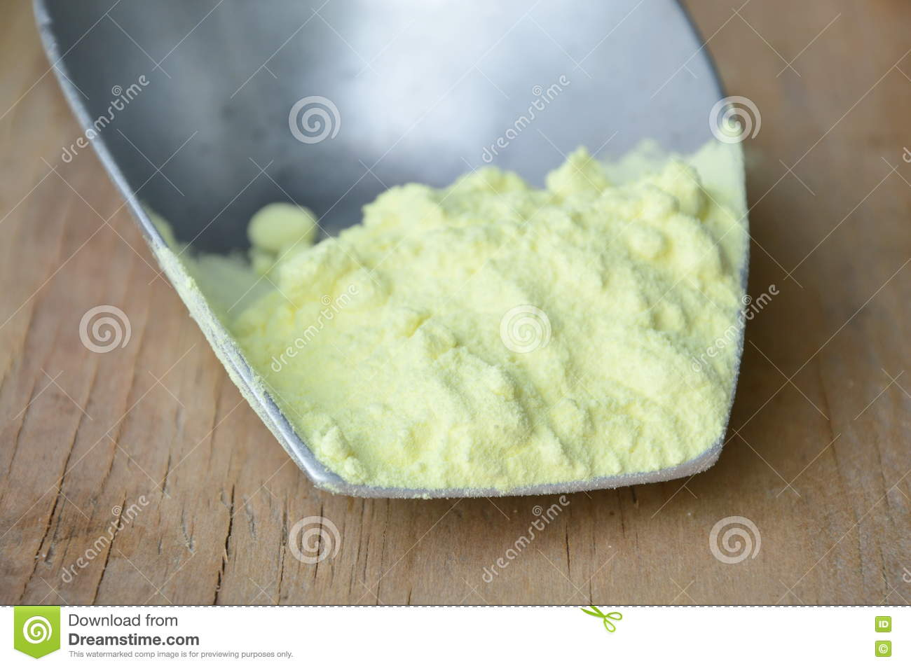 Sulfur Powder On Iron Scoop Stock Photo - Image of chemical