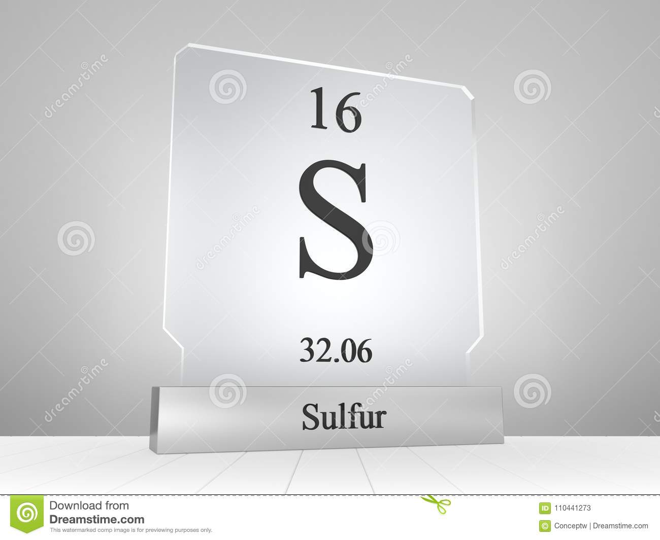 Sulfur Symbol On Modern Glass And Metal Icon Stock Illustration