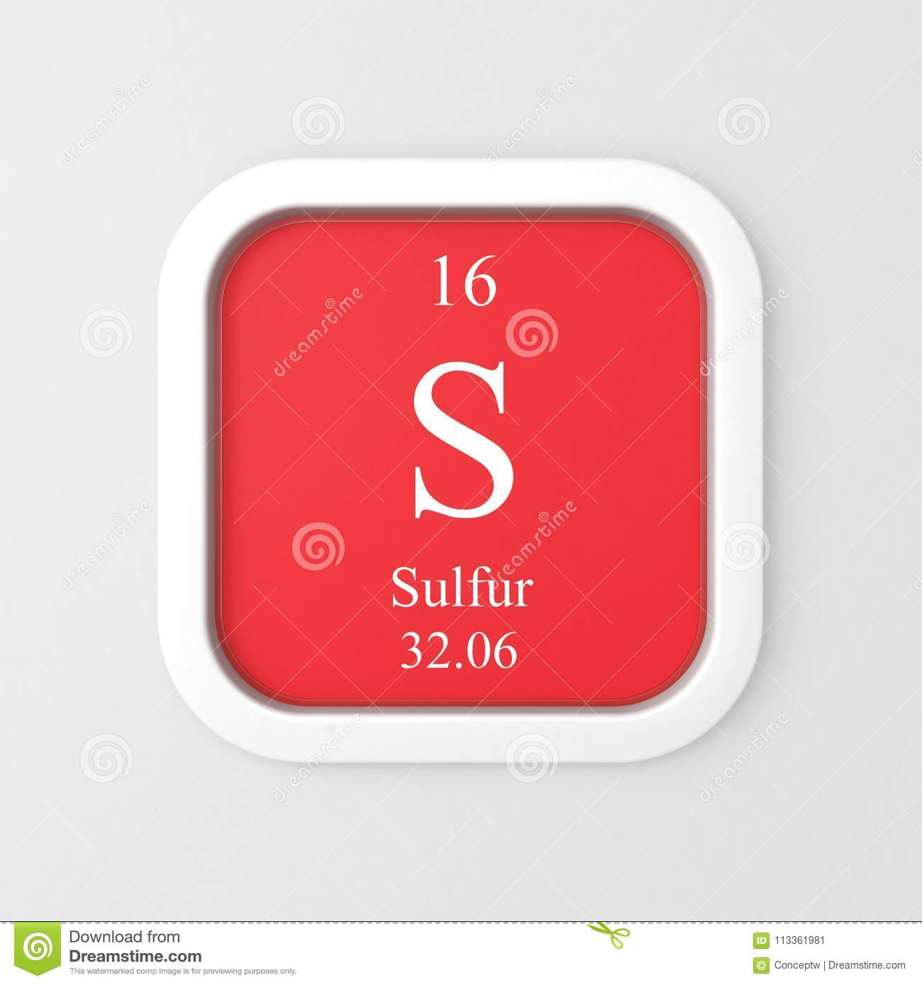 Sulfur Symbol From Periodic Table Stock Illustration Illustration