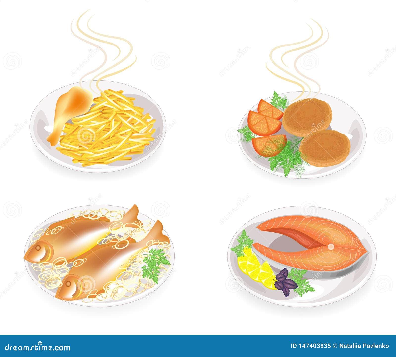 Sulle cotolette di un piatto, uno stinco di carne di pollo, un pesce Il contorno ha fritto le patate, cipolle, pomodoro, si inver