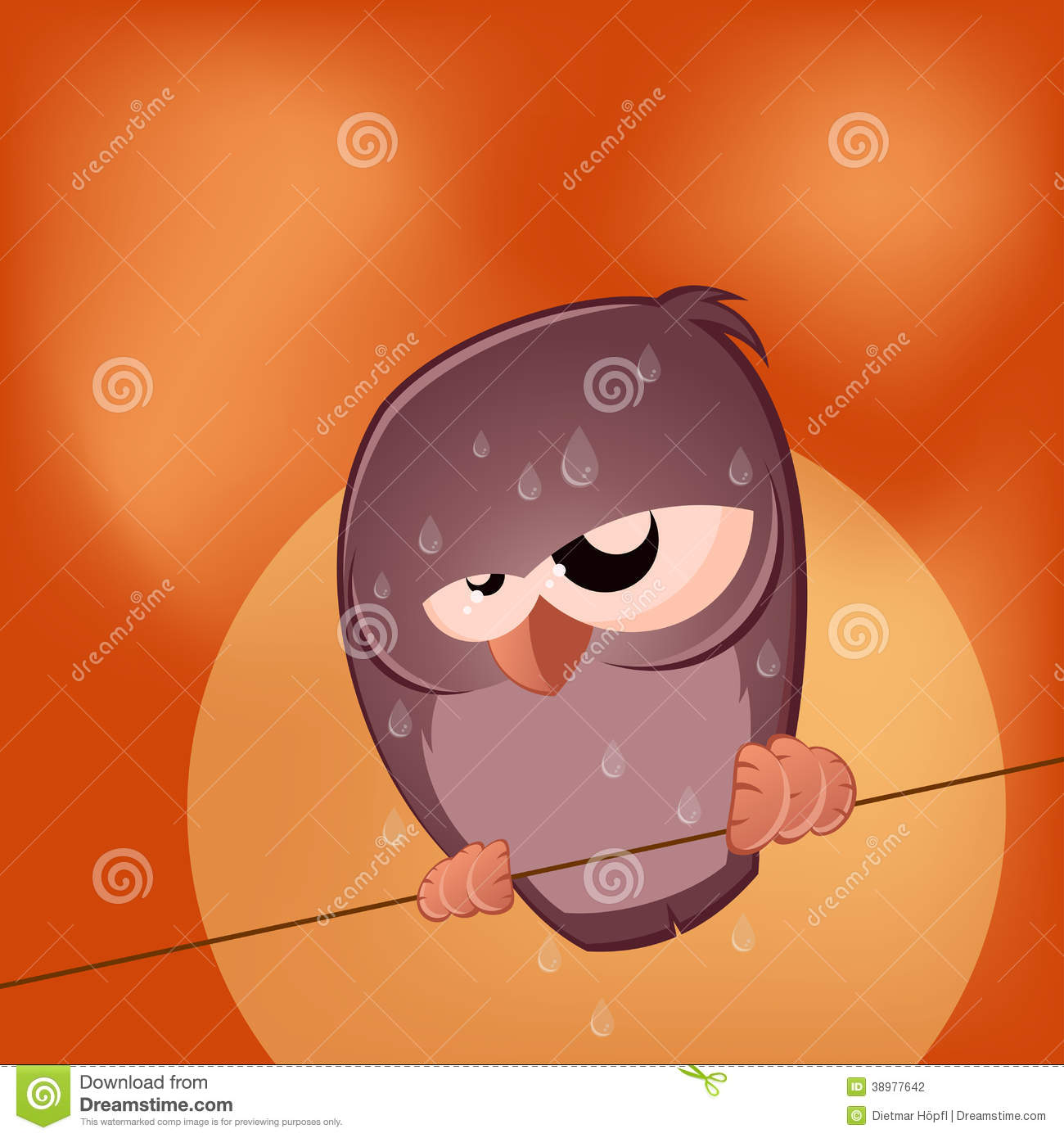 Sullen Cartoon Bird Is Sweating Stock Vector - Image: 38977642