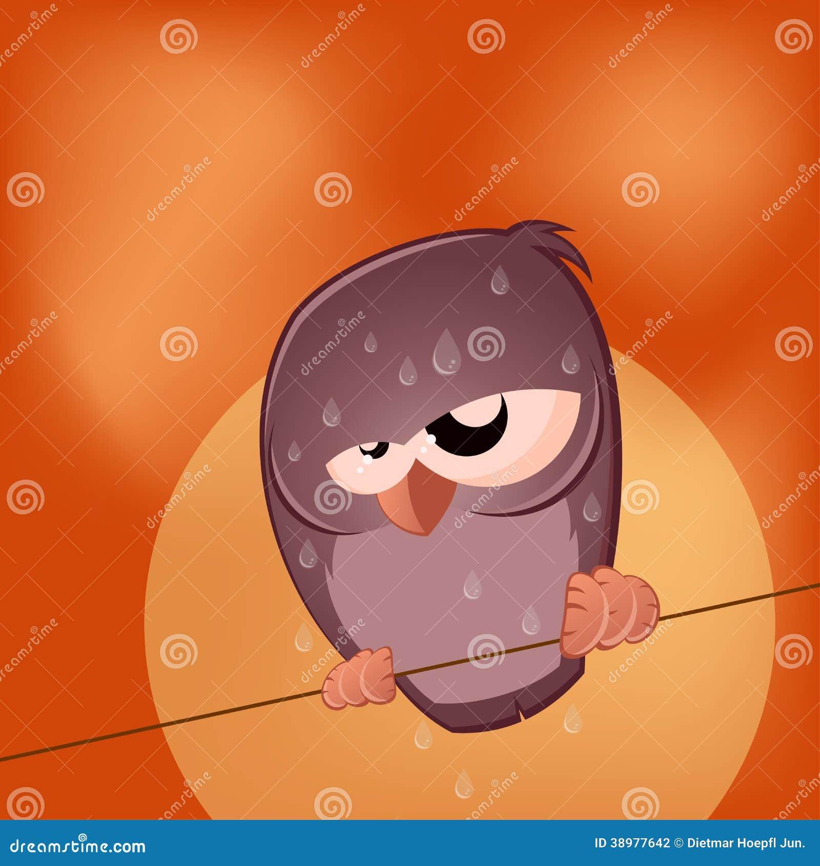 Sullen Cartoon Bird Is Sweating Stock Vector - Image: 38977642