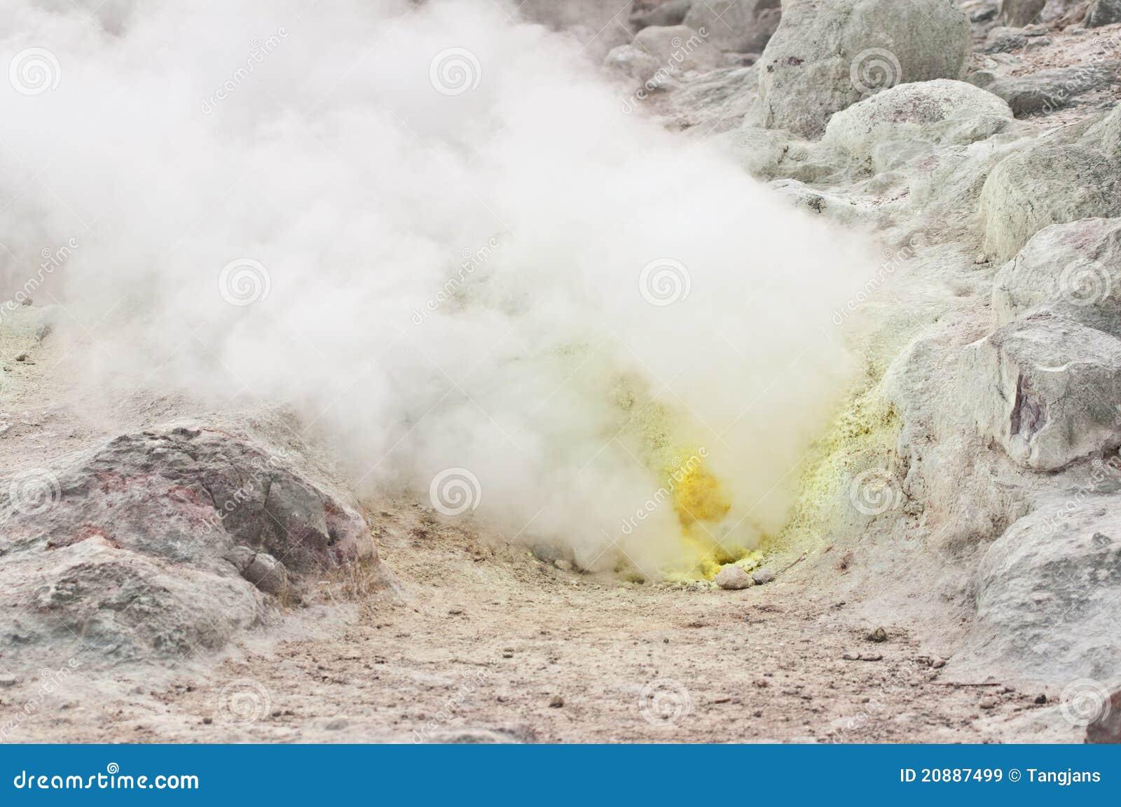 Sulphur Fumes Emitting From Vent, Hokkaido Stock Image