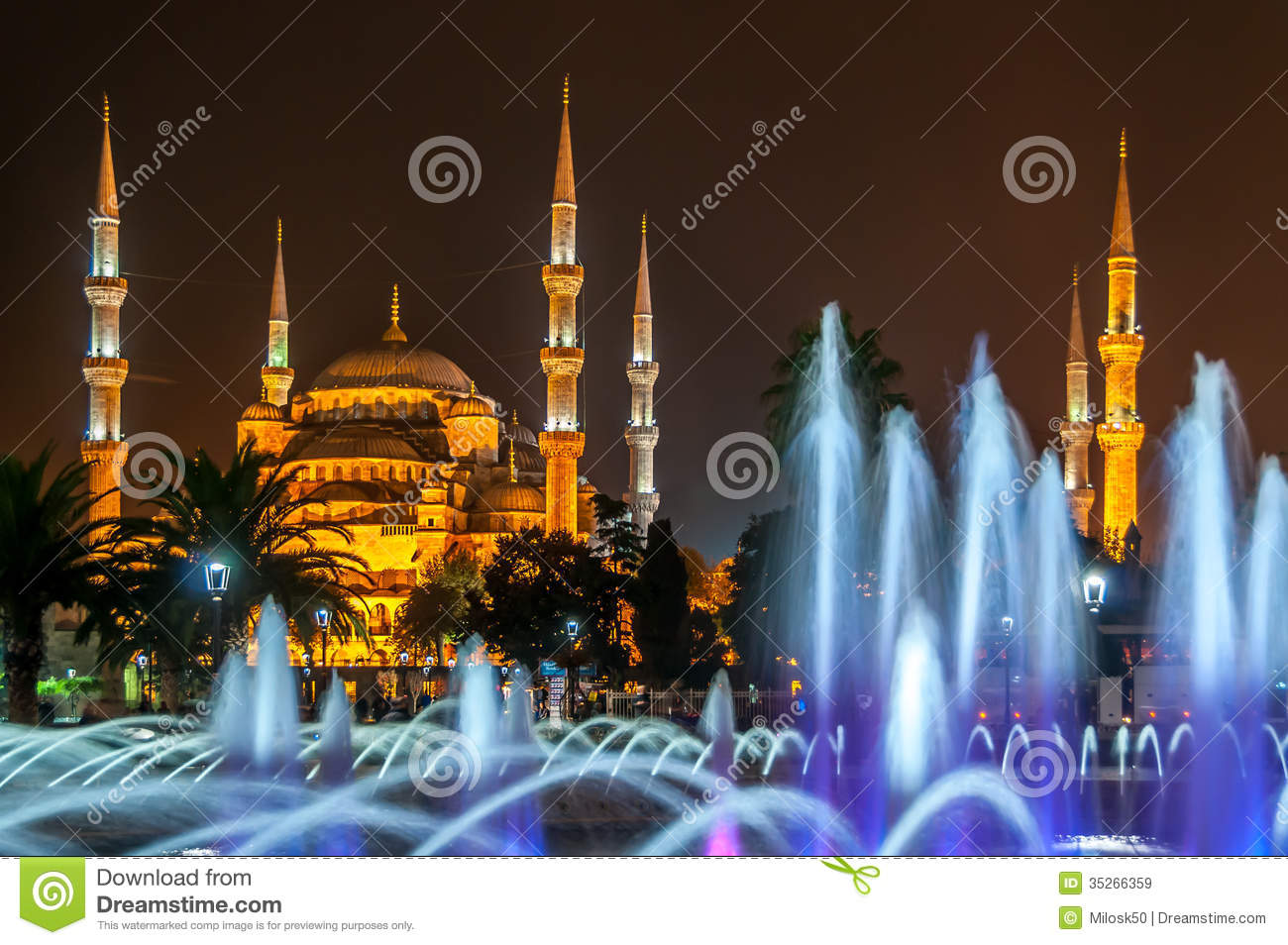 Download Sultan Ahmed Mosque (Blue Mosque) Stock Image - Image of hiking, night: 35266359