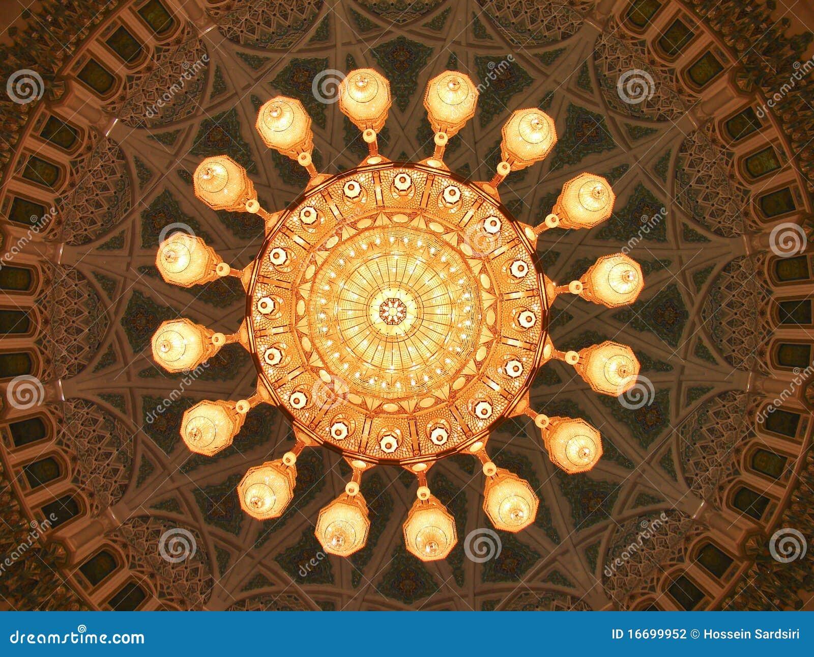 Sultan Qaboos Grand Mosque Interior Dome Stock