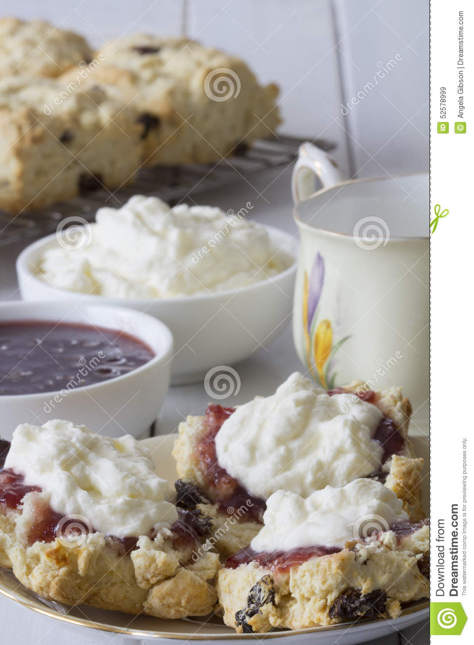 Sultana Scones with Jam and Cream and Tea