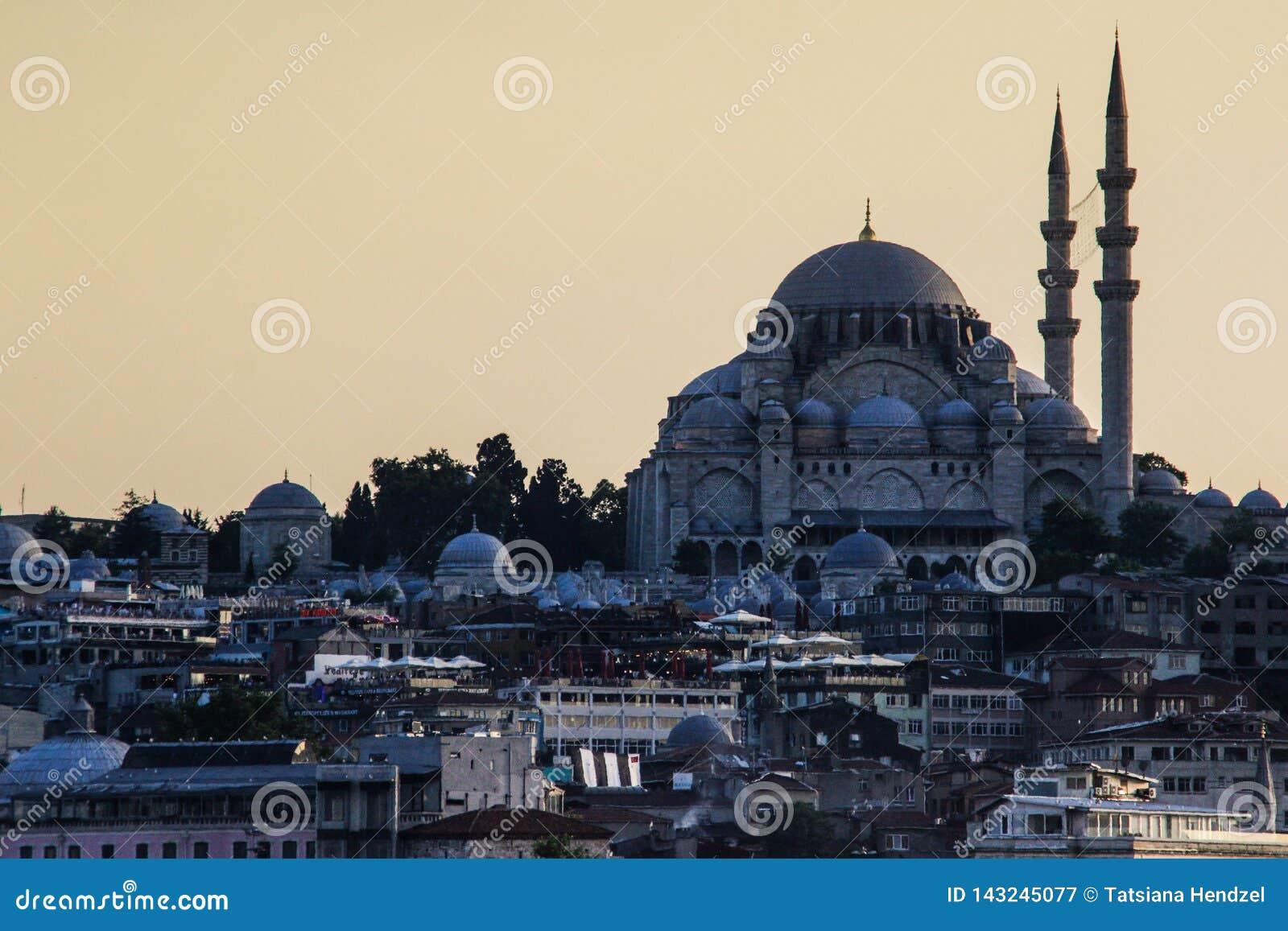 Sultanahmet-Moschee mit minaters nahe dem Bosphorus bei Sonnenuntergang