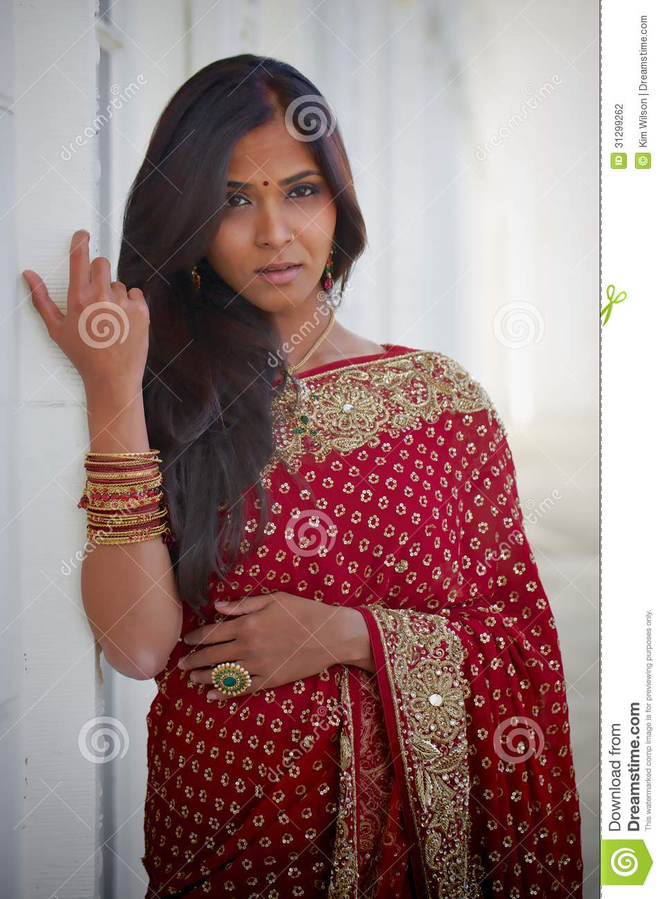 Sultry Indian Woman stock photo. Image of ethnic, yellow