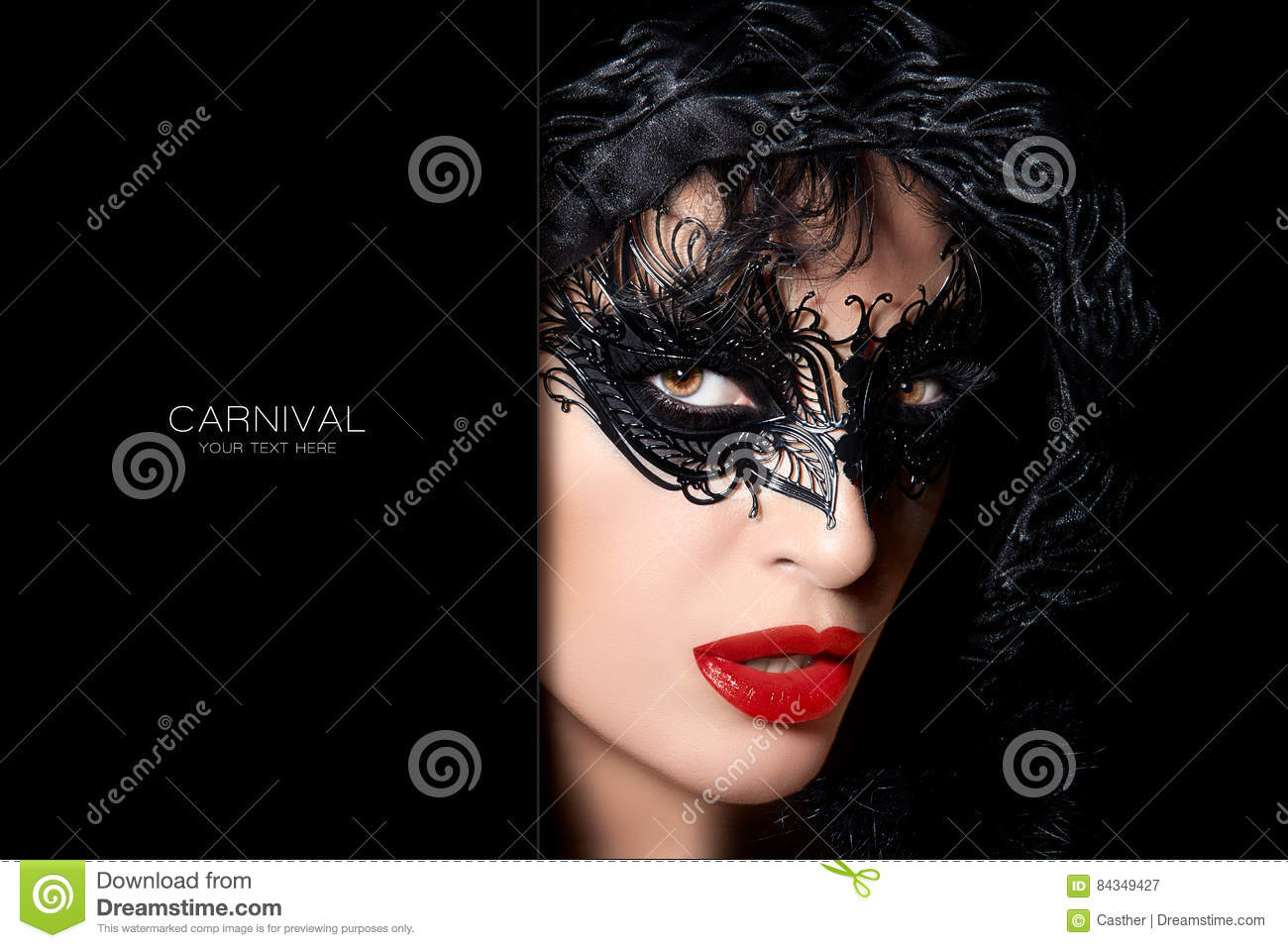 Sultry Mysterious Woman In Carnival Mask Stock Photo - Image: 84349427
