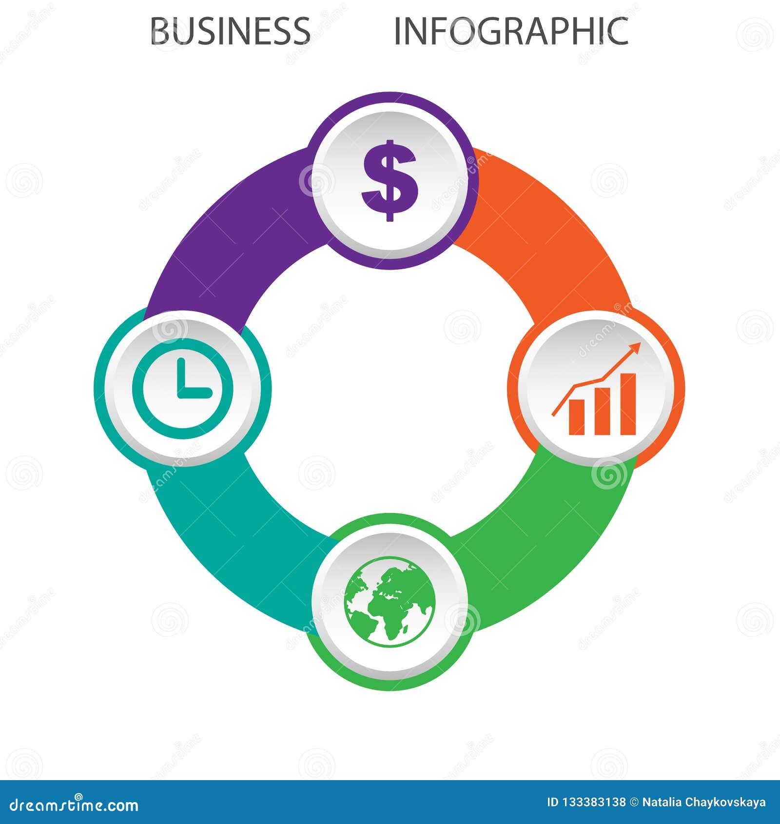 Sumário circular infographic com quatro opções, ilustração do vetor, EPS 10