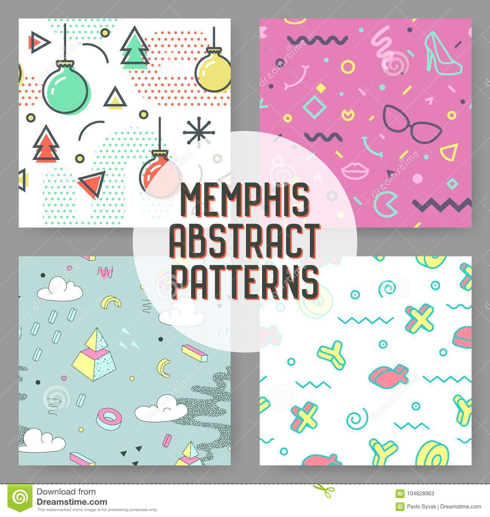Sumário Memphis Seamless Pattern Set do moderno da forma Fundo geométrico das formas Composição na moda de 80s 90s