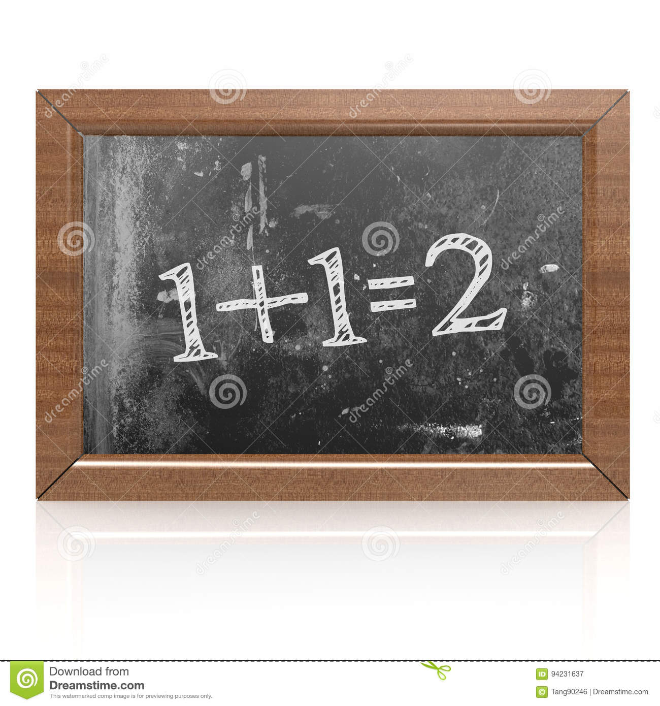 Sum one plus one equals two written on blackboard