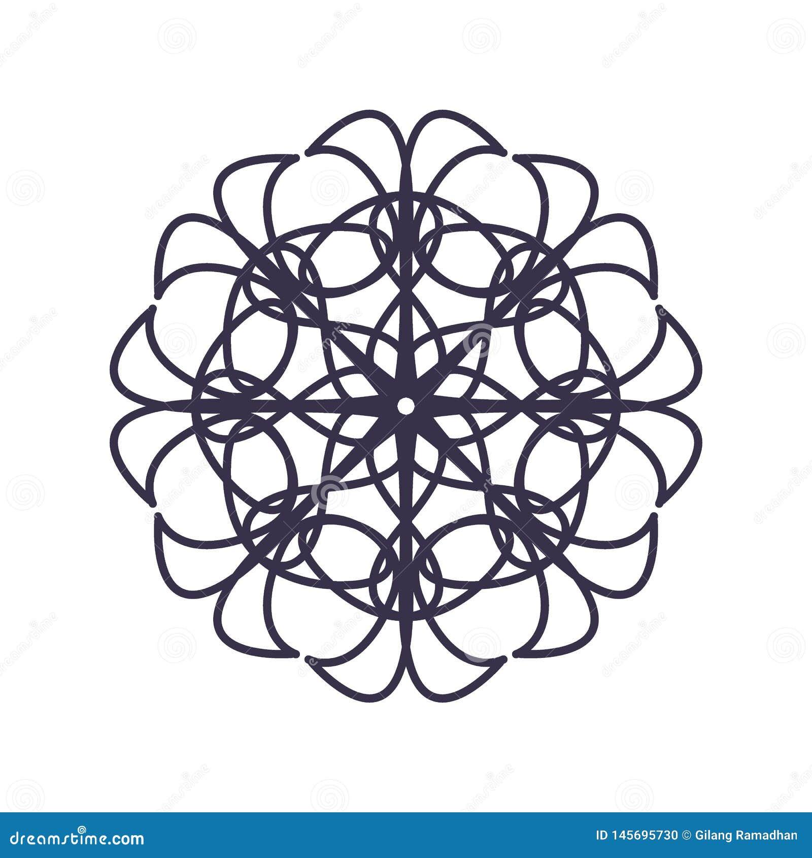 Sum?rio Mandala Geometry Outline para a decora??o ou a tatuagem