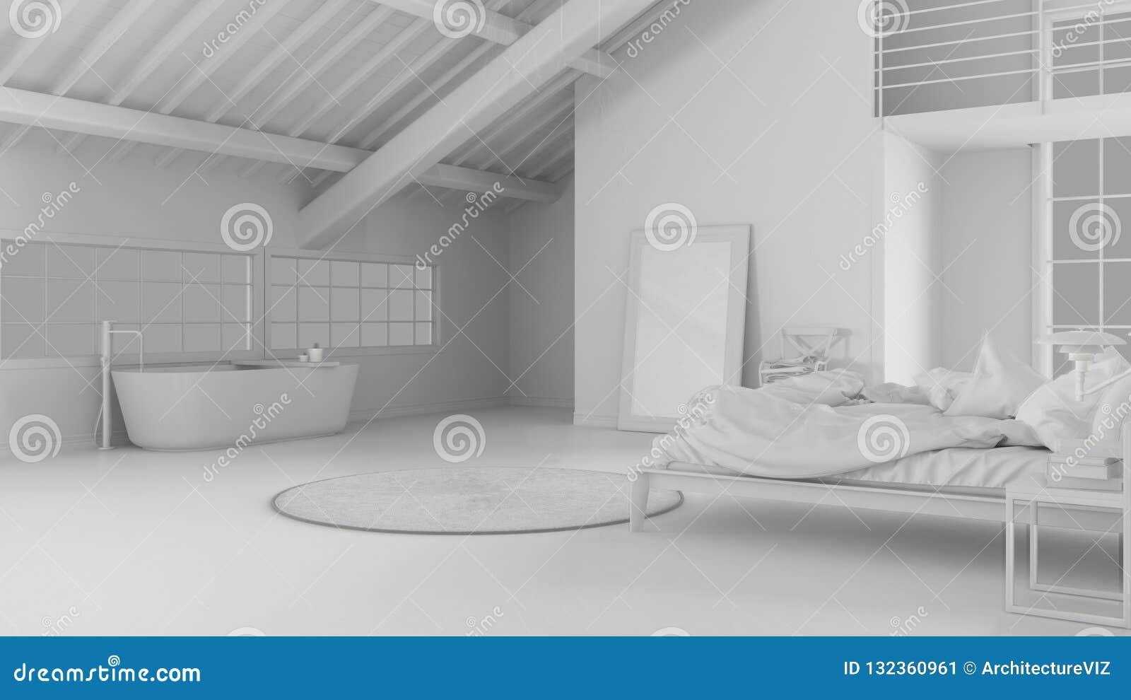 Sumaryczny Biały Projekt Loft Otwarta Przestrzeń Z Sypialnią
