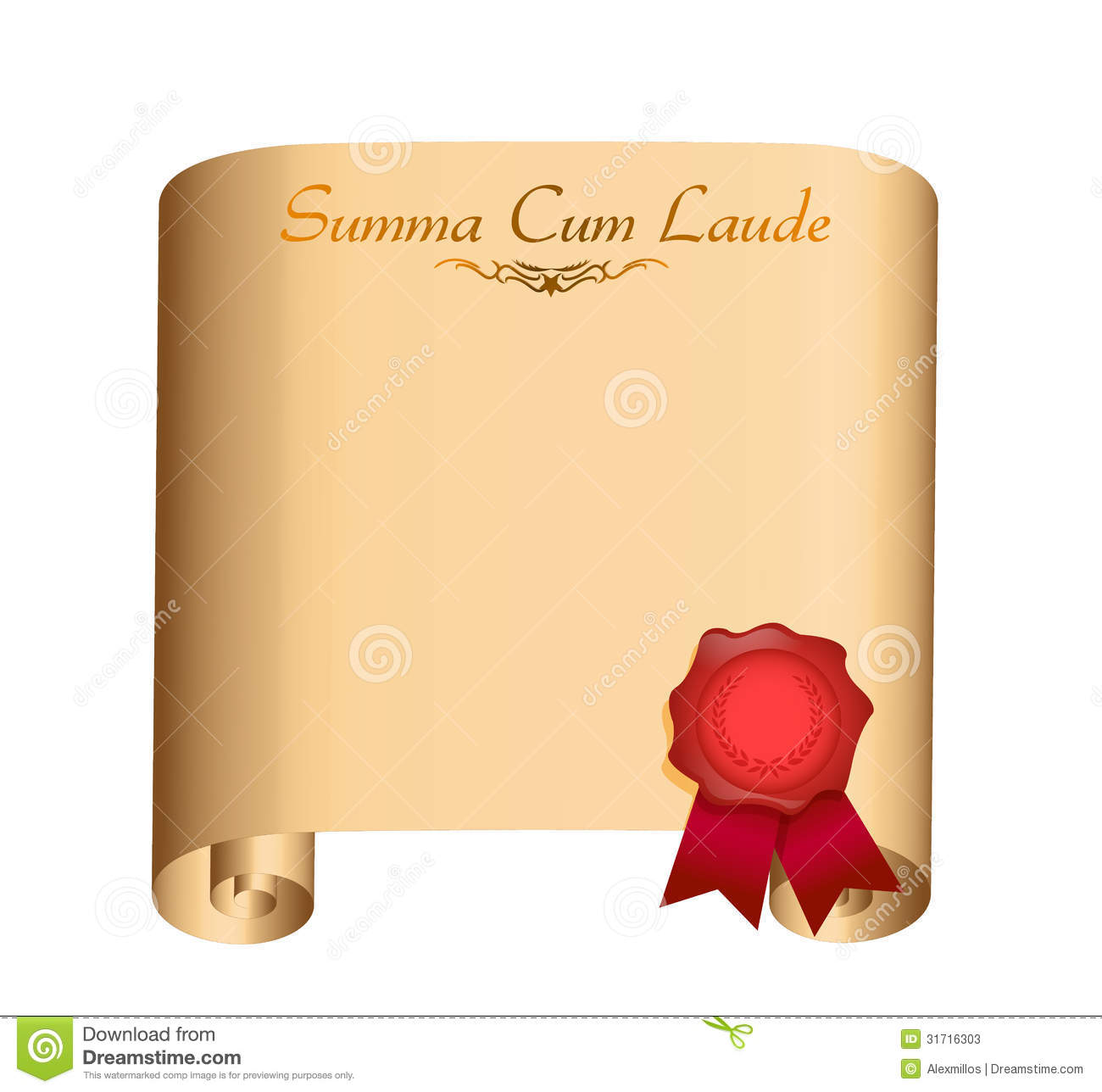 Summa Laude College Graduation Diploma Stock Photos
