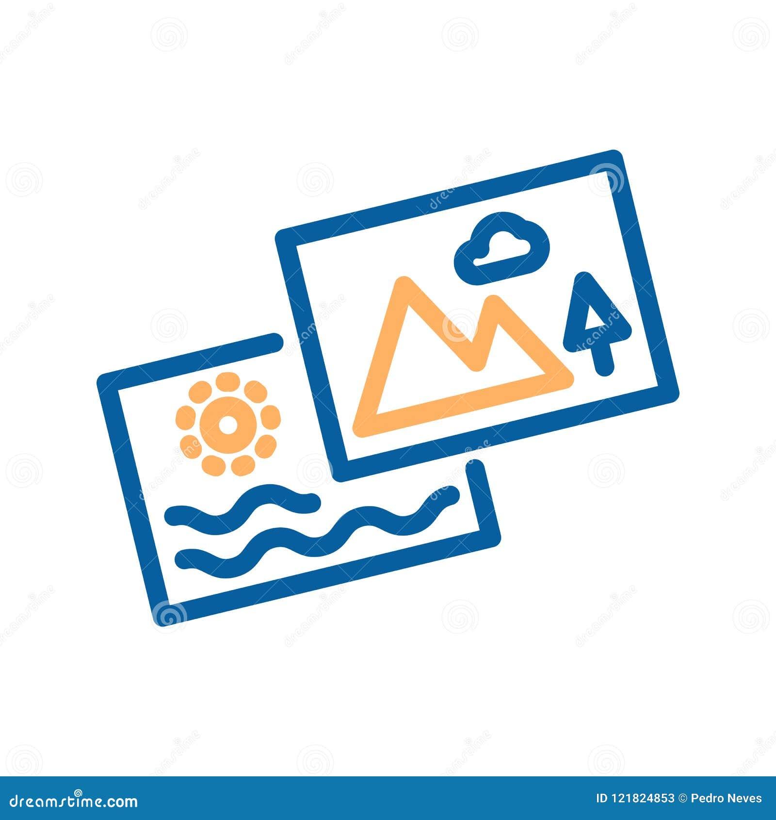Summarisk symbol Uppsättning av två foto Gör linjen symbol tunnare