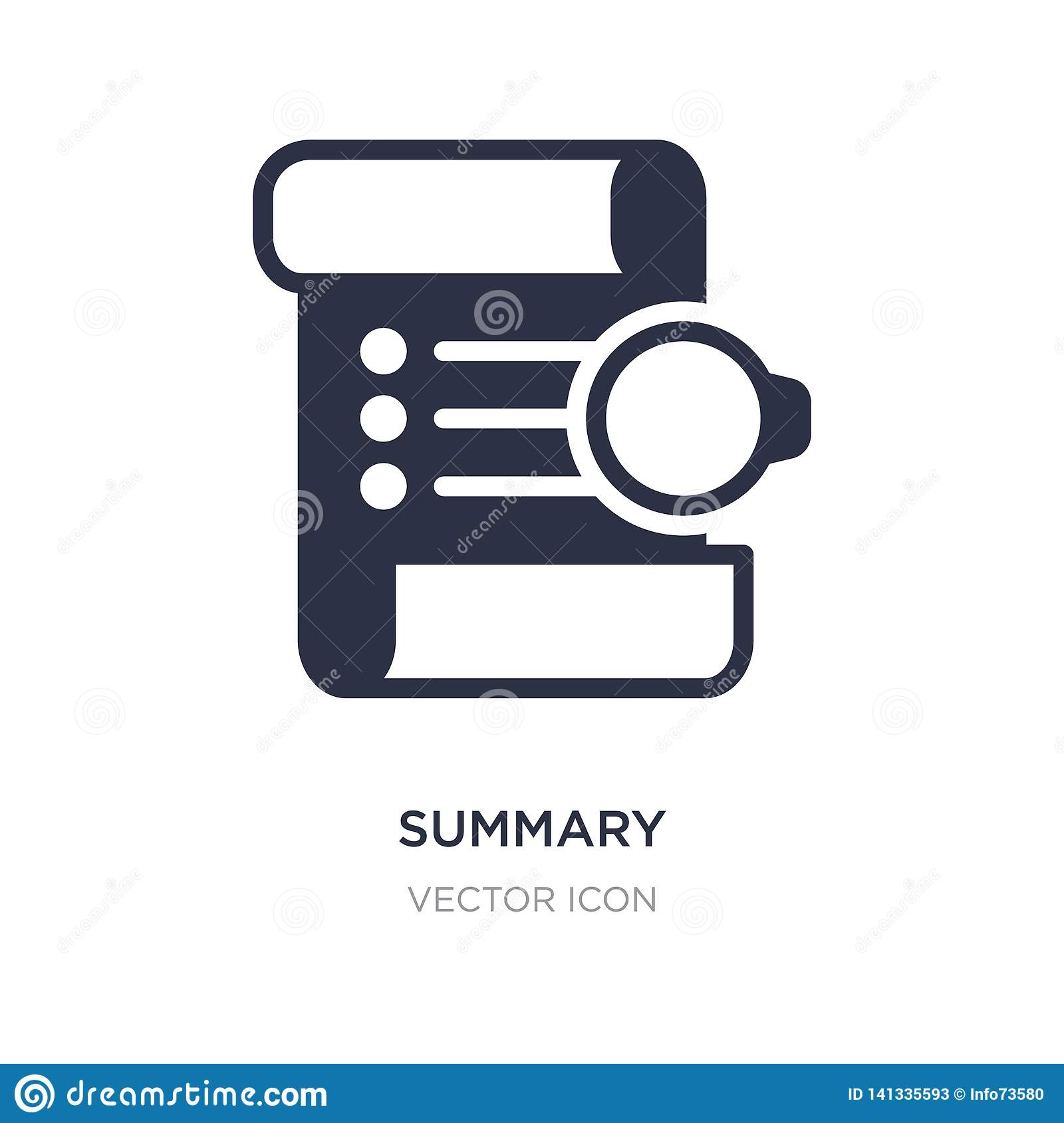 summary icon on white background. Simple element illustration from Technology concept