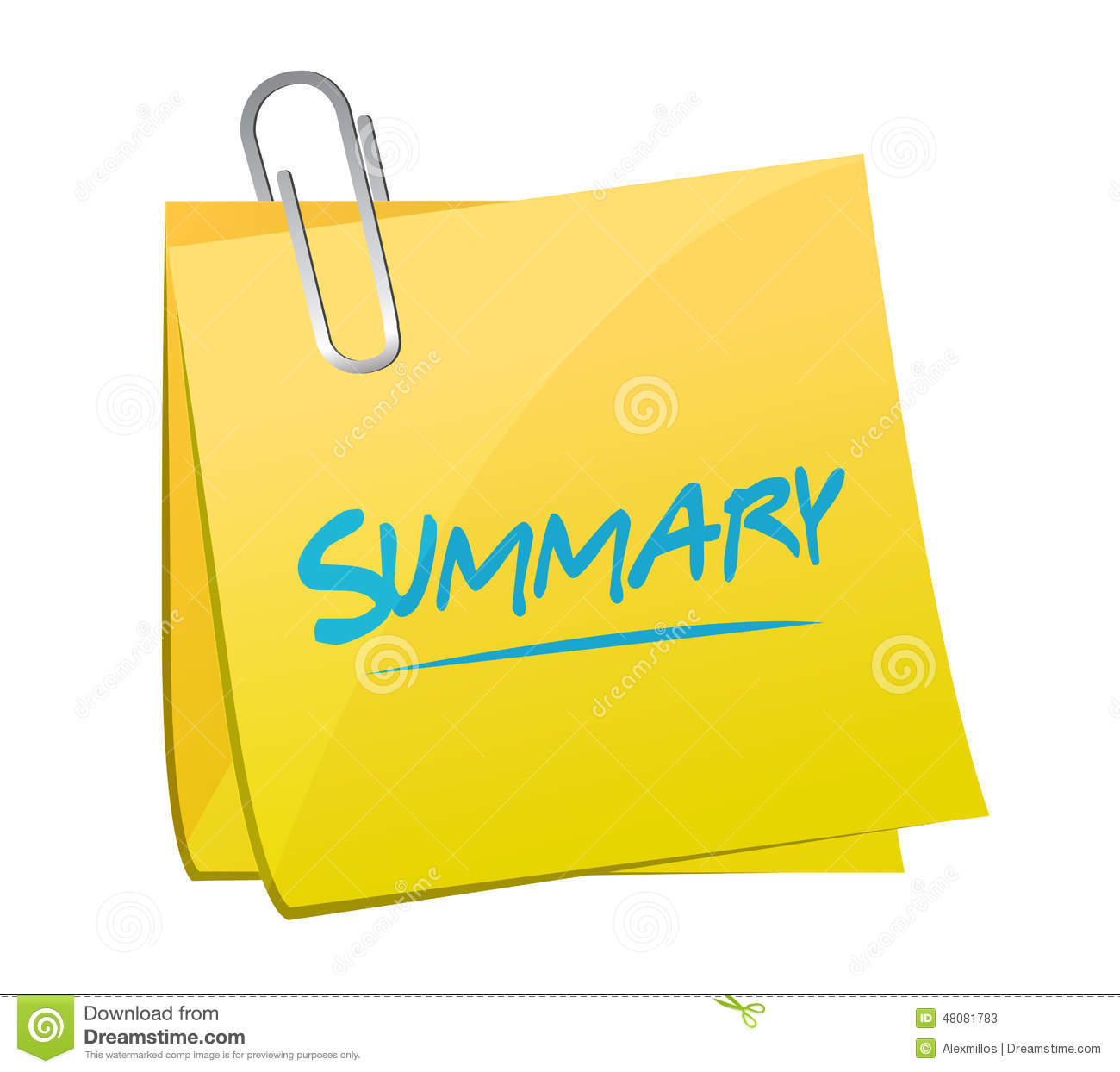 summary memo post illustration design stock photo