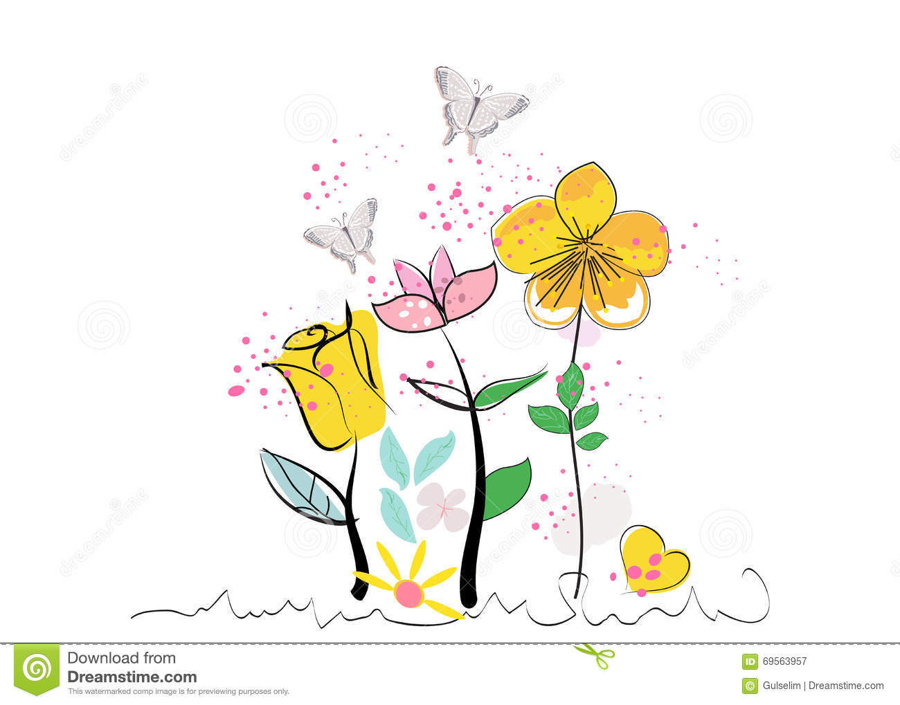 Summer Abstract Decorative Flowers And Butterfly Vector