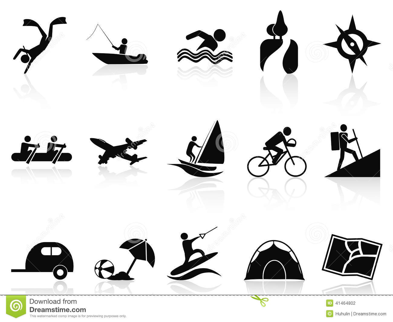Summer Activities Icons Set Stock Vector Image 41464802
