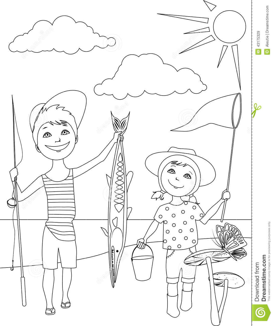 summer activities for kids coloring page stock vector image