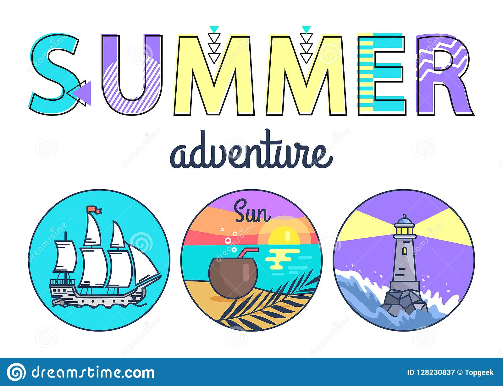 Summer Adventure Promo Banner with Round Seascapes