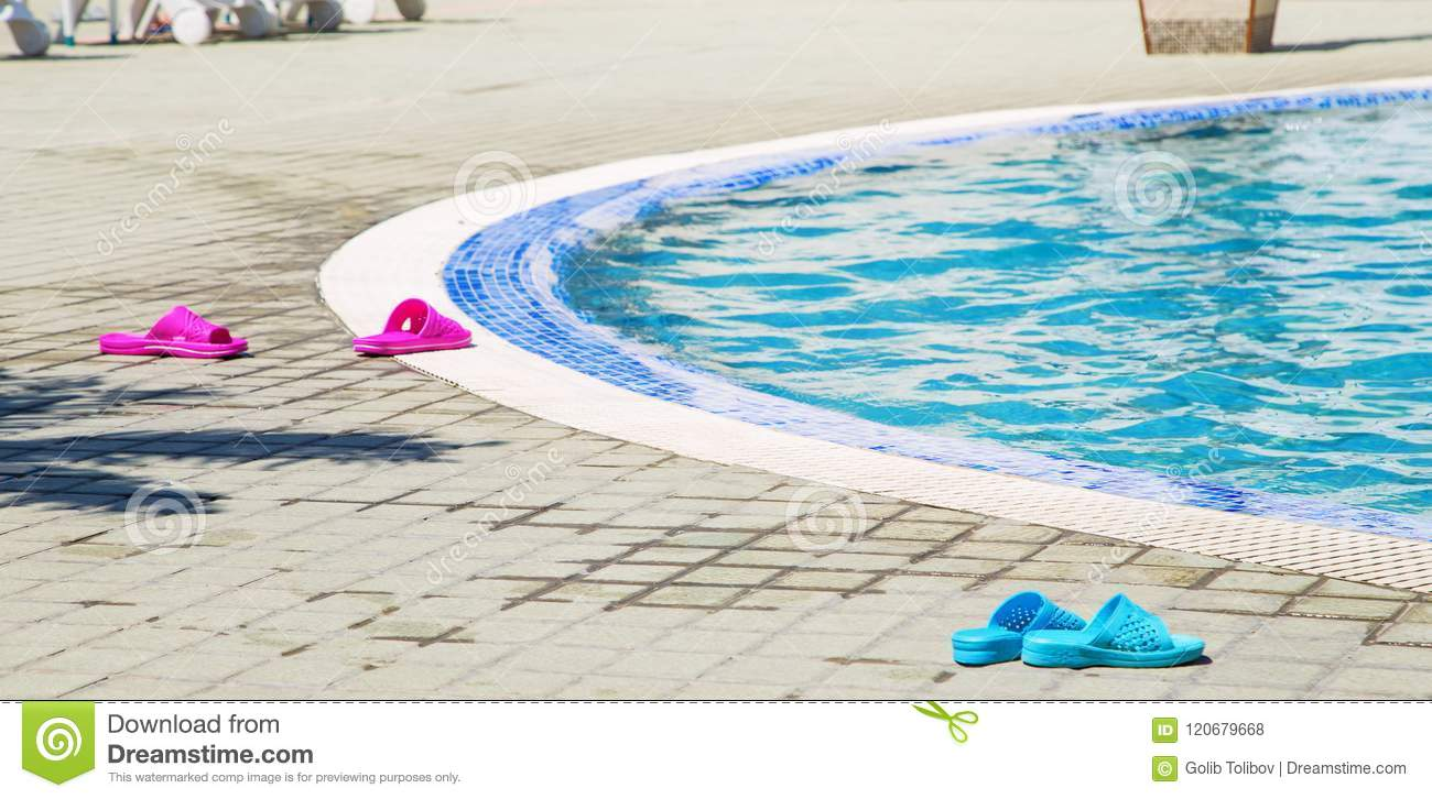 395ae5f9cf8e Summer Background With Blue And Violet Colored Flip Flops Near The ...