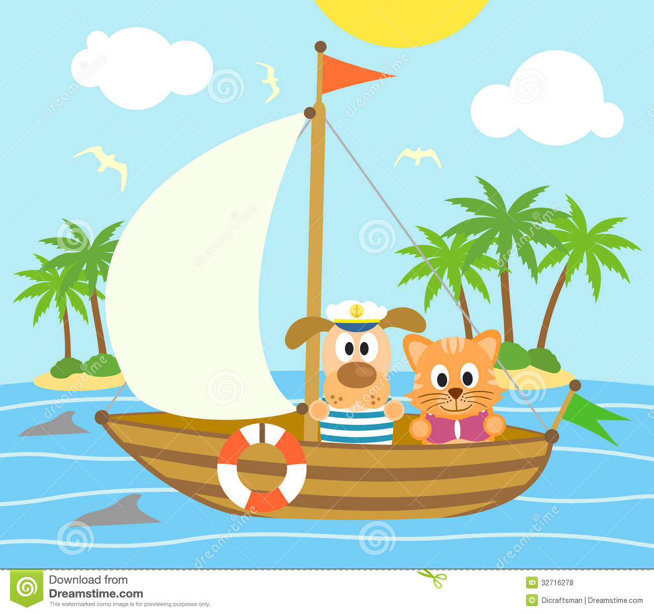 summer background with dog and cat on a boat vector illustration cartoondealer com 32716278 sailfish clipart Sailfish Paintings