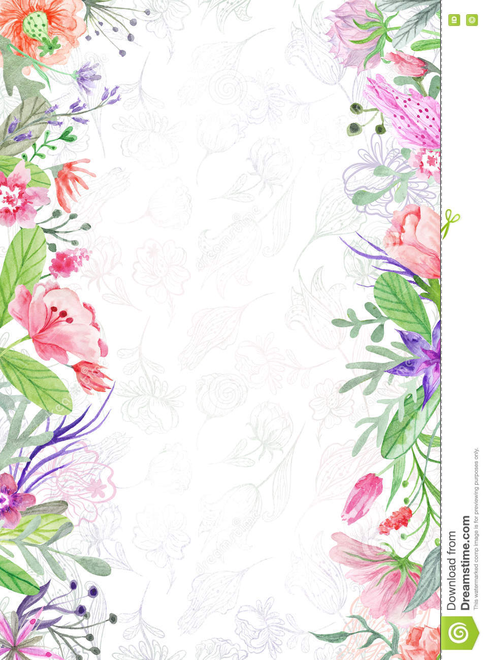 Summer Background With Floral Borders Stock Illustration