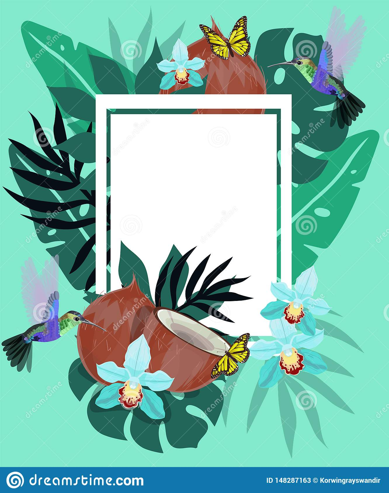Summer background with hummingbirds, coconut, butterflies and blue orchid. Floral frame with little hummingbirds flying near