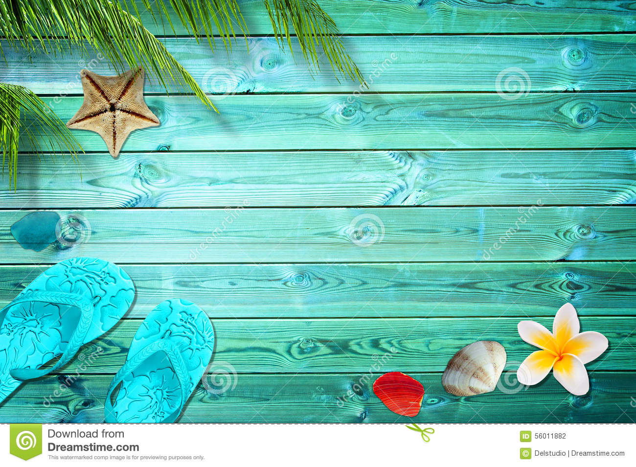 summer background palm trees flip flops and sea shells stock photo