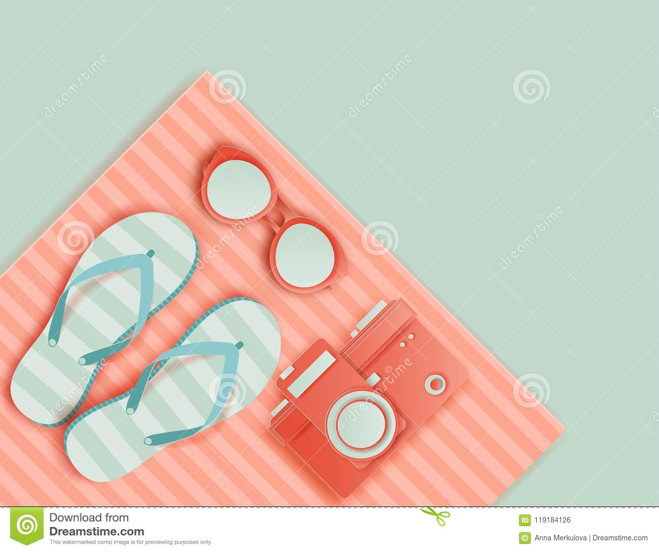 f45dac1e7 Summer background in pastel colors. Paper cut retro photo camera,  sunglasses, striped beach towel, slippers. Summer vacation concept