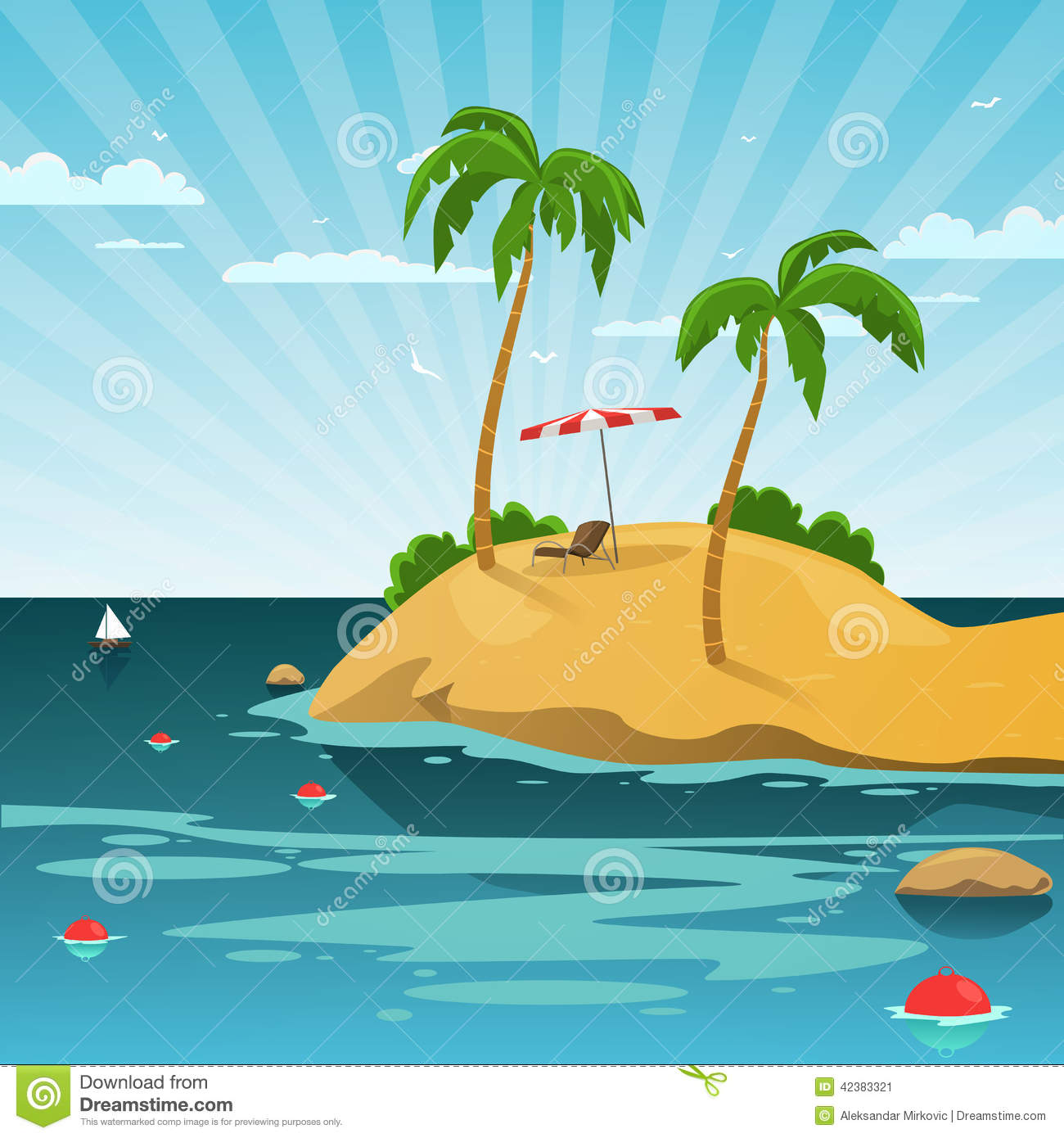 Tropical island with sun chair and parasol, summer cartoon vector ...