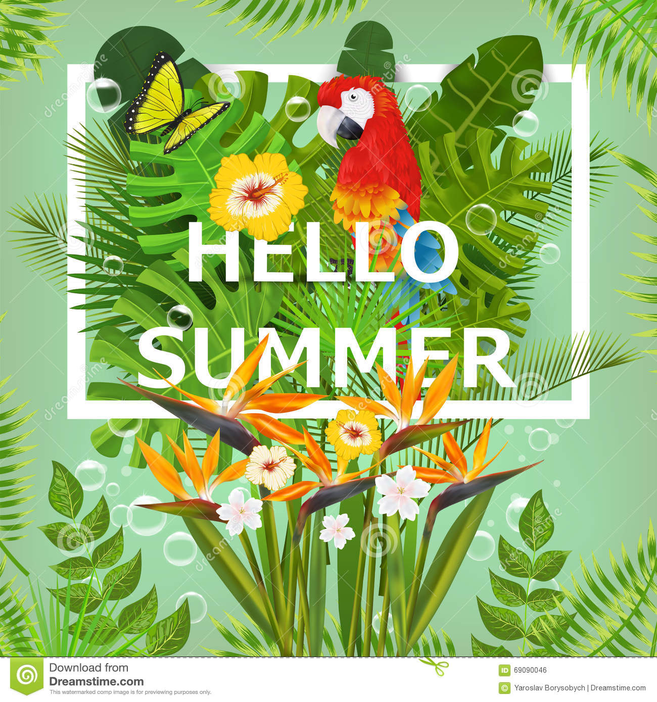 Summer Background With Tropical Plants And Flowers. For ...