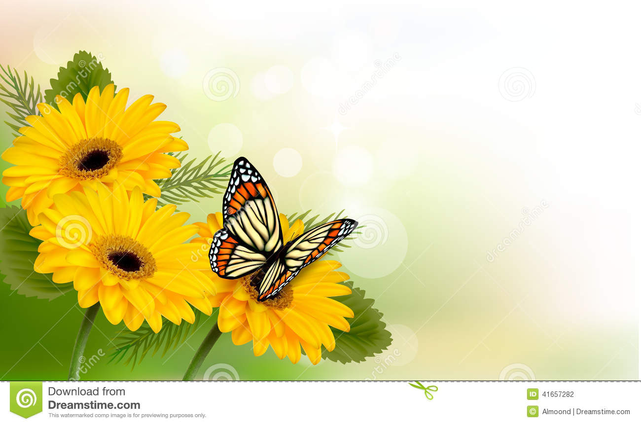 Summer background with yellow beautiful flowers and butterfly stock download summer background with yellow beautiful flowers and butterfly stock vector illustration of chamomile mightylinksfo
