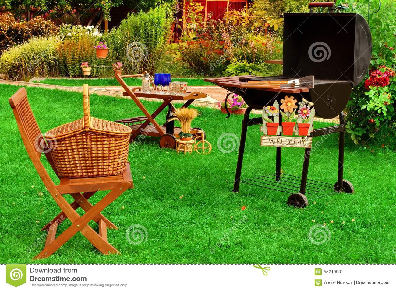 Backyard Summer Background : Summer Backyard BBQ Grill Party Or Picnic Scene Stock Photo  Image