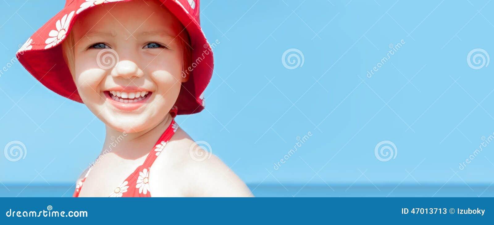 Summer banner child girl happy smile sea holidays