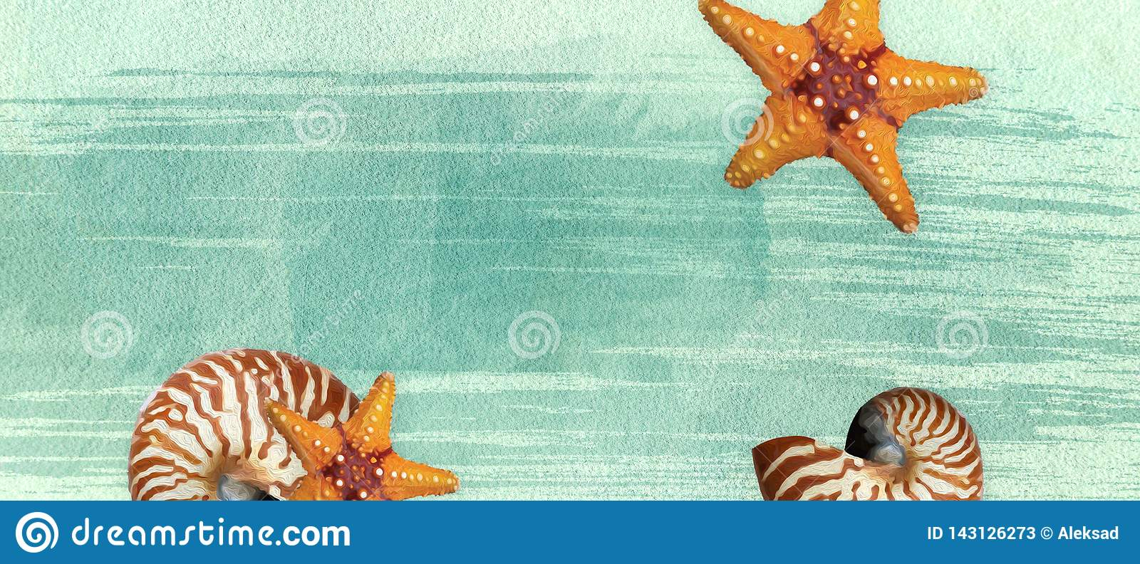 Summer banner with oil paint and watercolor brushes. Seashell, starfish on a marine background with text space.