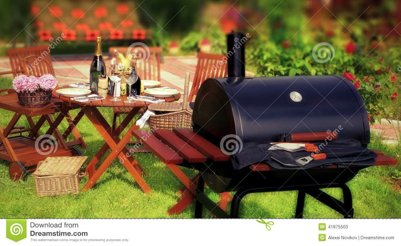 Backyard Summer Background : Summer BBQ Party or Picnic in backyard on lawn Tiltshift effect in