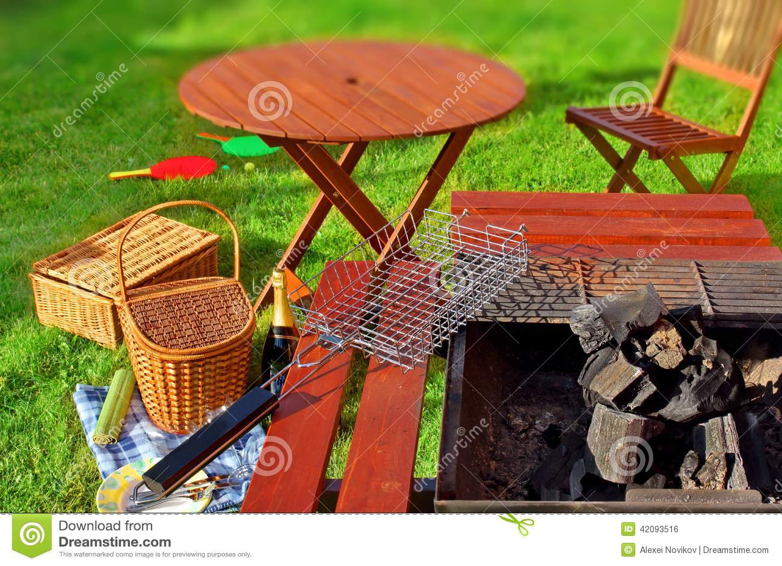 Backyard Summer Background : Summer BBQ Party or Picnic scene in backyard on lawn Tiltshift