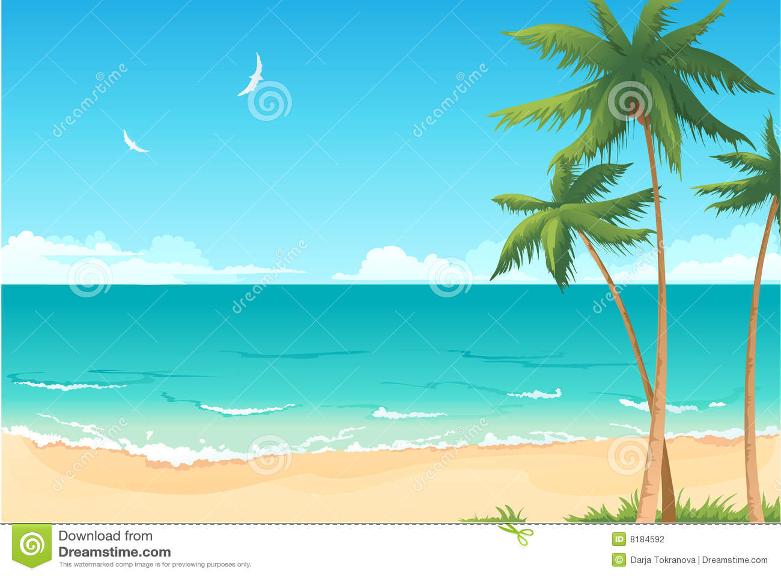 Summer beach stock vector image of copyspace palm sand 8184592 summer beach voltagebd Gallery