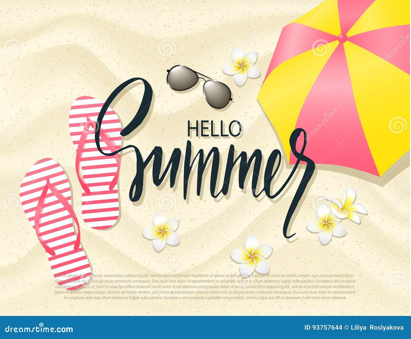 9730ce6bd3d2 Summer Beach Flip Flops Sand Tropical Vacation Banner Stock ...