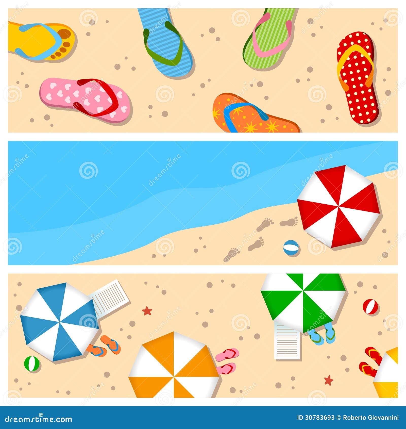 Summer Beach Banners Set stock vector. Illustration of ...