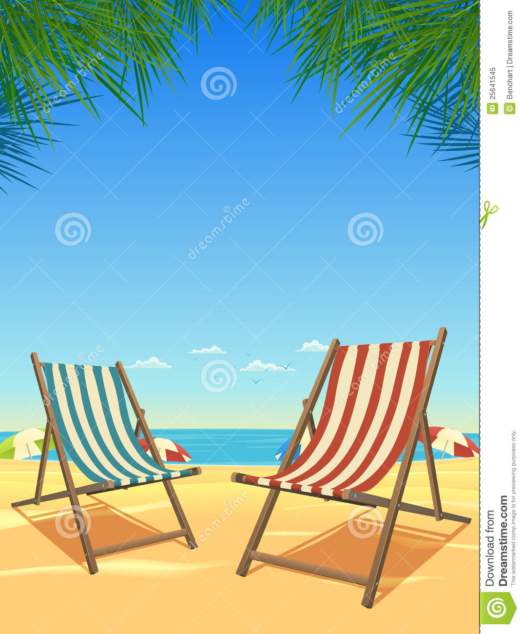 Summer Beach And Chairs Background Stock Vector