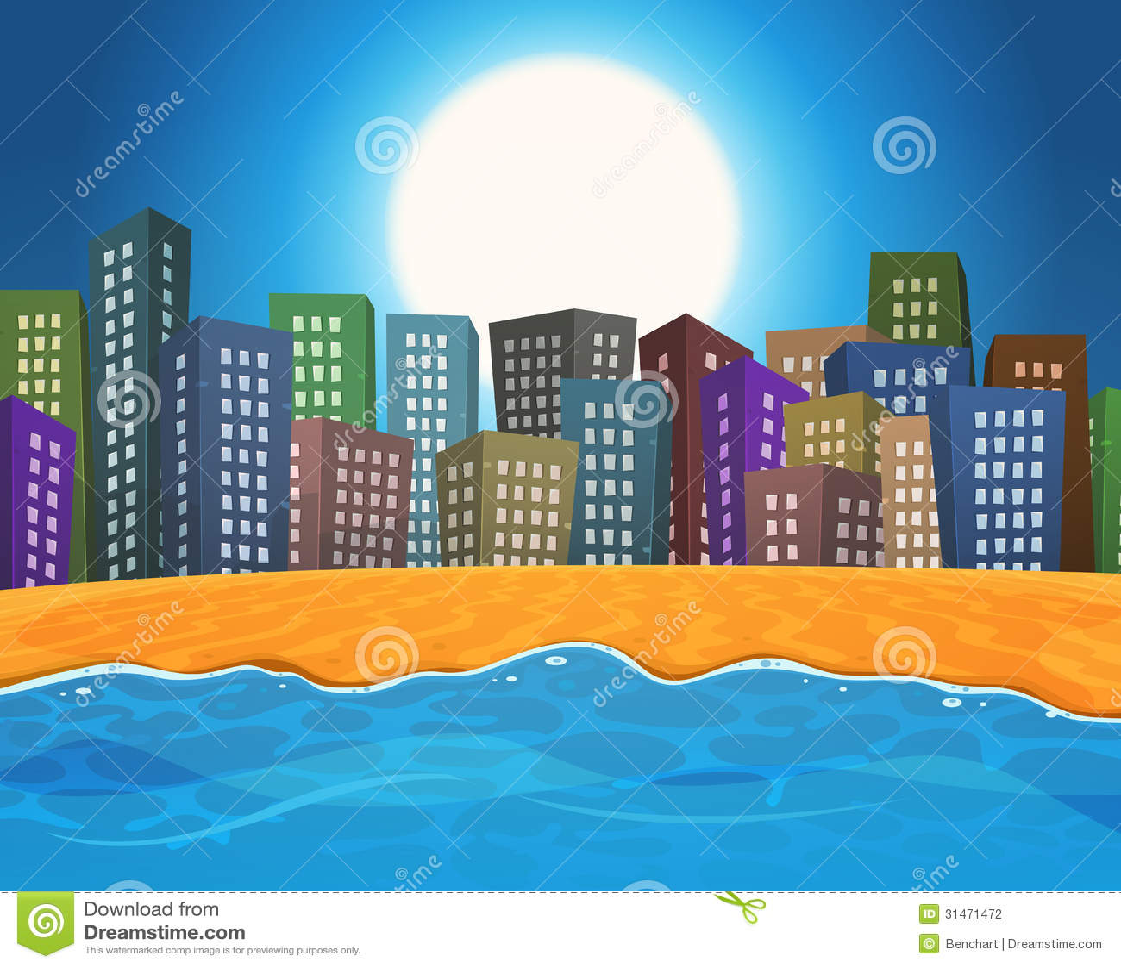 Summer Beach By The City