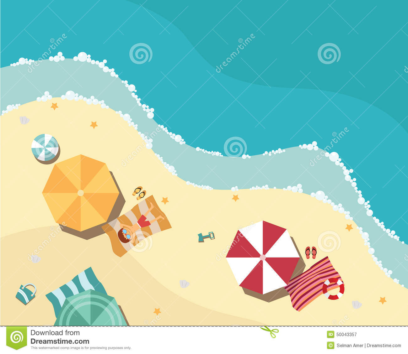 summer beach in flat design aerial view sea side stock vector