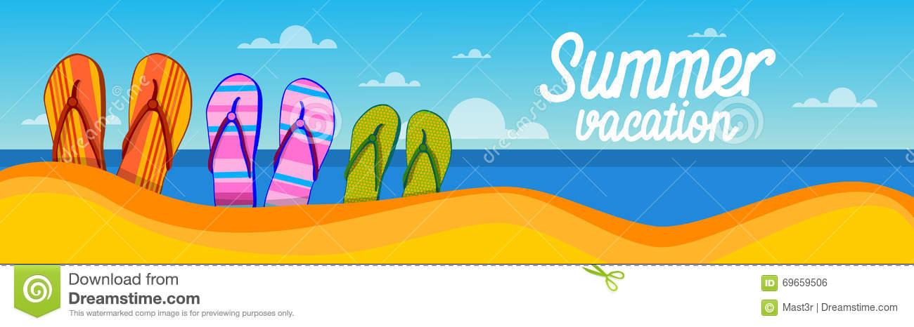 Summer Beach Flip Flops Sand Tropical Vacation Banner