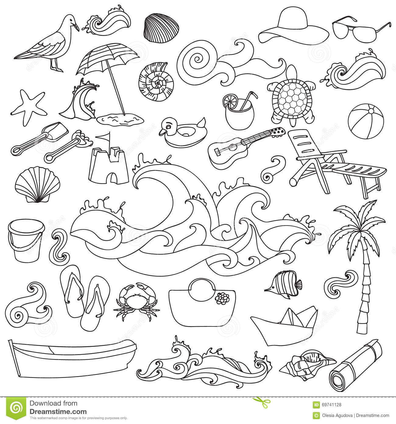 Summer Beach Hand Drawn Vector Symbols And Objects Stock